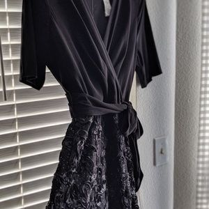 Black 3/4 sleeve evening dress
